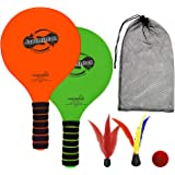 Funsparks Paddle Ball Game Jazzminton Beach for Family and Friends – 2 Paddles, 2 Birdies, 1 Ball and Carry Bag – Wind Birdie