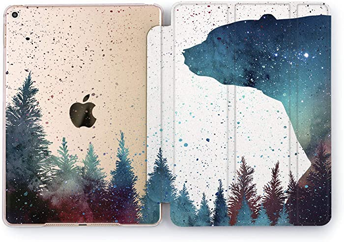 Wonder Wild Forest Bear Sky iPad 5th 6th Generation Tablet Nature Mini 1 2 3 4 Air 2 Pro 10.5 12.9 11 10.2 9.7 inch Smart Cover Trees Plants Space Wood Design Case Forest Green Nature Beauty
