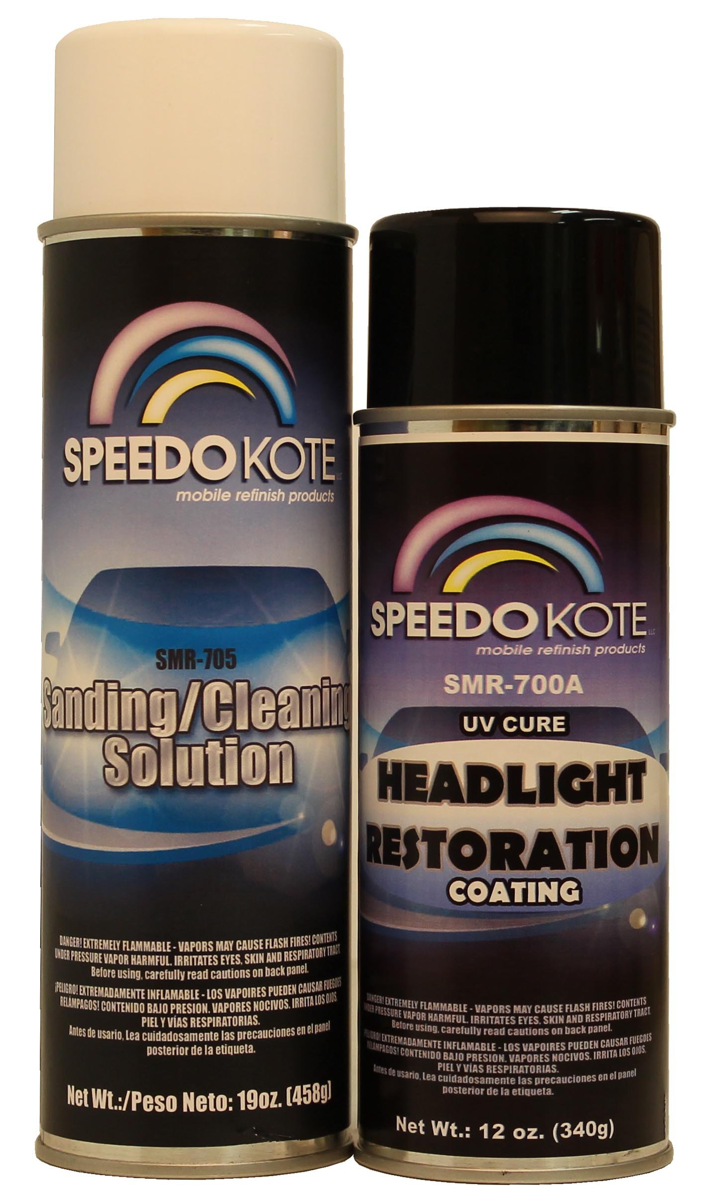 SpeedoKote SMR-700A/705 - Professional Headlight Restoration Aerosol Kit, UV Cure coating, SMR-700A/705, Enough to restore 12 car's headlights to new condition