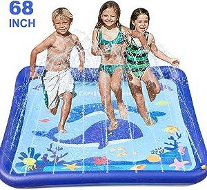 "GiftInTheBox Kids Sprinkler & Splash Play Mat 68"" Sprinkler for Kids Outdoor Water Toys Fun for Toddlers Boys Girls Children Outdoor Party Sprinkler Toy Splash Pad"