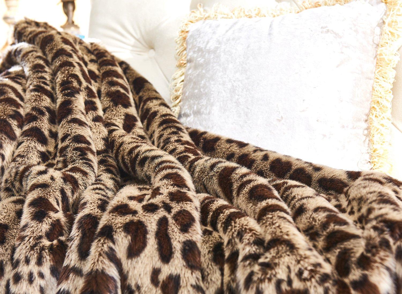 Lindsey Home Fashion Faux Fur Throw, Fur Blankets Super Soft Japanese Kanekalon Fiber, Sheepskin, Mink, Wolf, Bear, 60''x80'', 60''x70'', 50''x60'' 14 Colors (60x70(INCH), Dark Leopard) by Lindsey Home Fashion (Image #3)