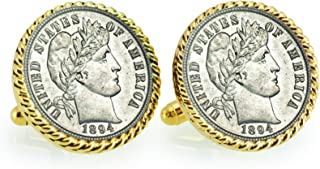 product image for American Coin Treasures 1800's Silver Barber Dime Goldtone Rope Bezel Cuff Links