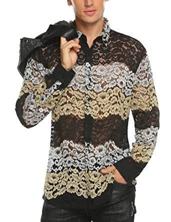 04783814e2d9 COOFANDY Men's Mesh See Through Shirts Long Sleeve Slim Fit Stylish Luxury  Casual Button Down Shirts