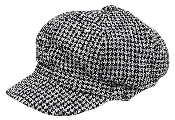 53729eed57efb Cool4 Schwarz-Weiß Ballonmütze Hahnentritt Muster Bakerboy Cap Ballon Mütze  Schirm Vintage Hut WBC04