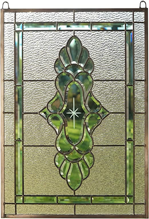 """Handcrafted stained glass Green /& Clear Beveled window panel 19/"""" x 27/"""""""