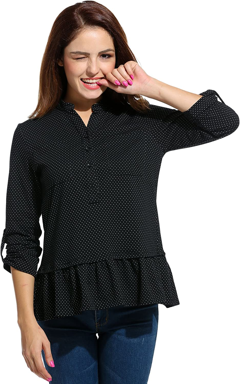Beyove - Camisas - Túnica - cuello mao - Manga Larga - para mujer negro 40 : Amazon.es: Ropa y accesorios