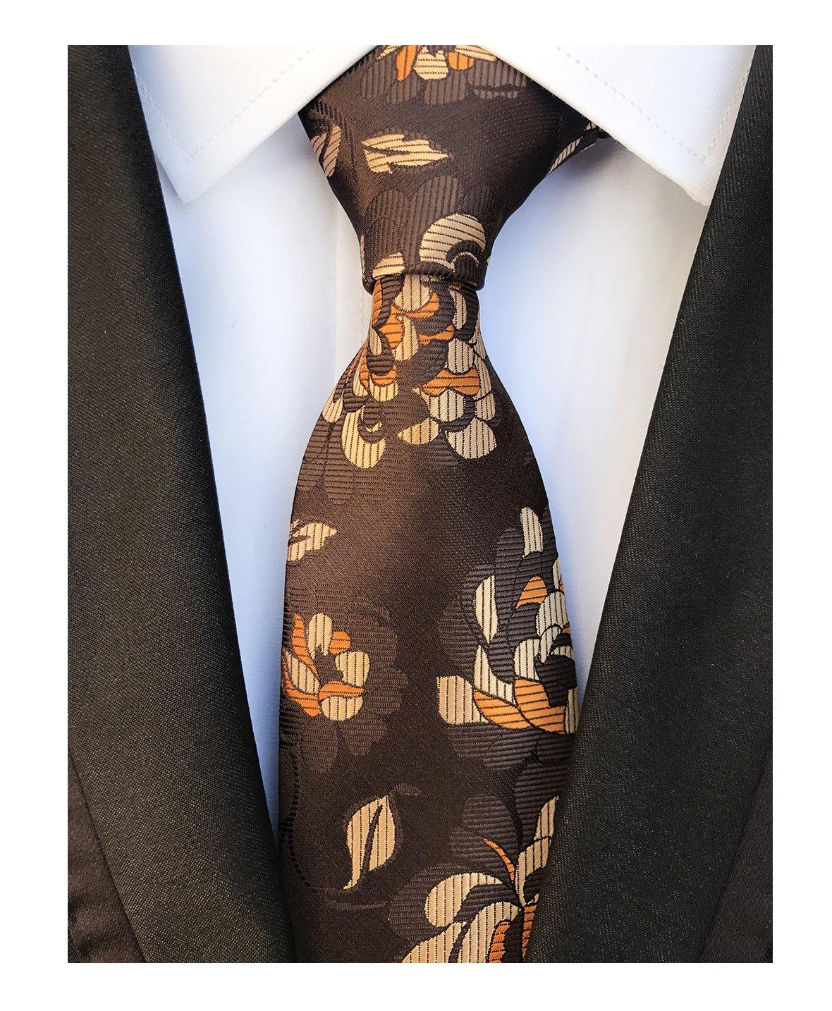 Men's Classic Brown Bronze Flowers Jacquard Woven Ties Luxury Business Neckties