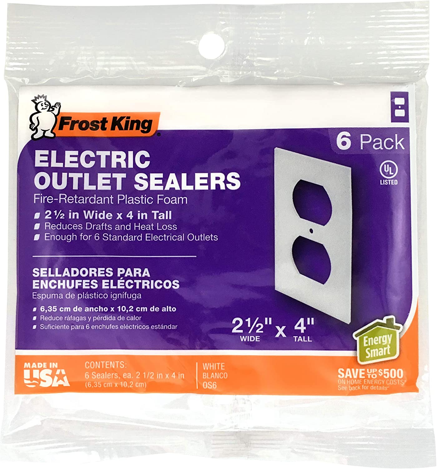 Frost King OS6H Foam Outlet and Switch Sealers, White