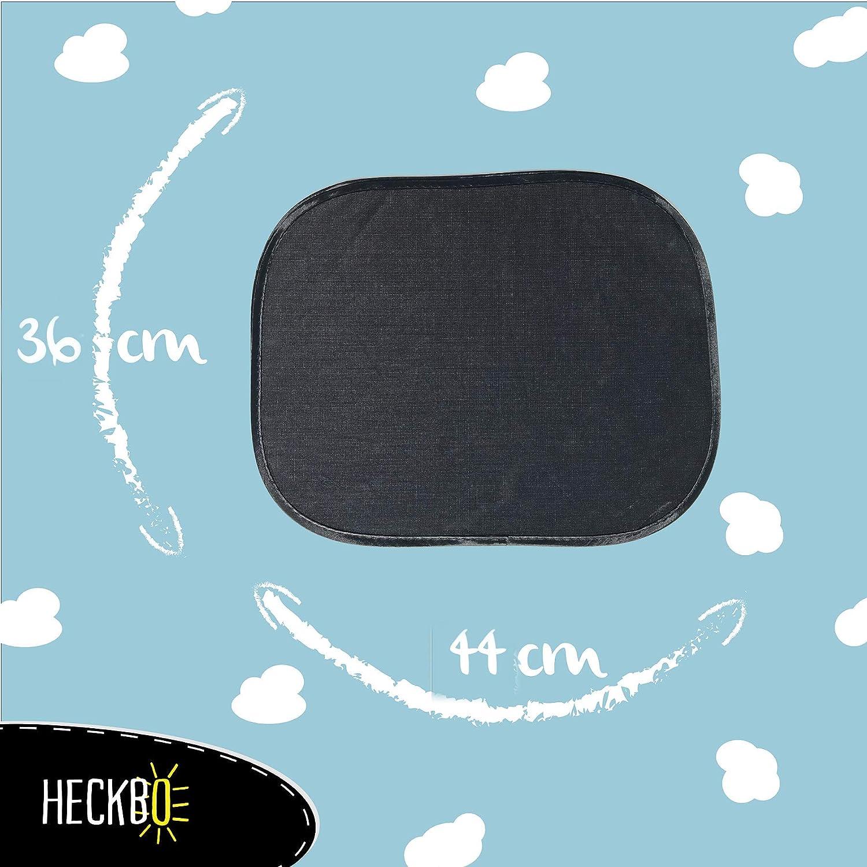 pare-soleil auto y compris sacoche 44x36cm | pare-soleil pour vitres de voiture Motif: Noir protection solaire pour enfants HECKBO/® Pare-soleil autoadh/ésif 2 pi/èces
