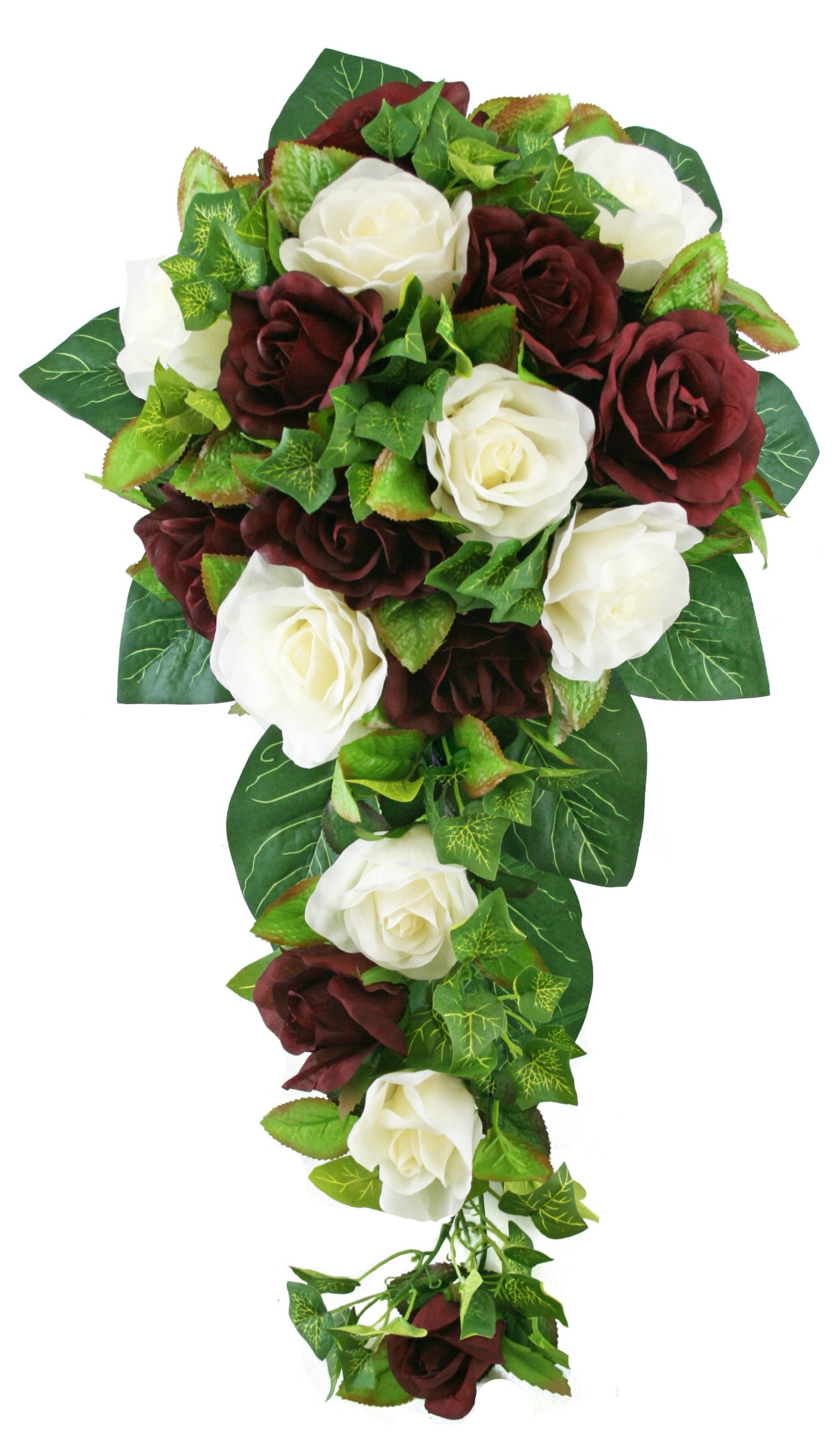 Burgundy and Ivory Silk Rose Cascade – Silk Bridal Wedding Bouquet