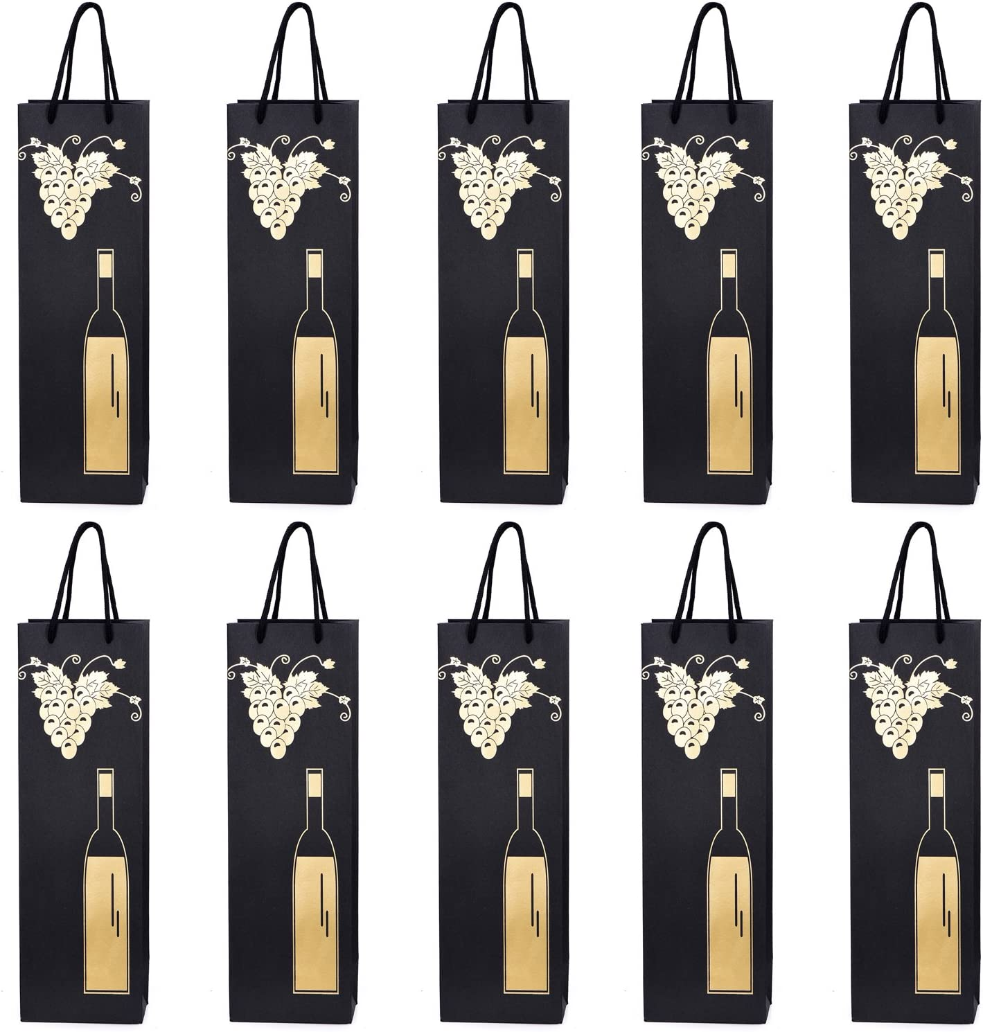 10 bolsas para botellas, bolsas de regalo para vino, prosecco y champán 40 x 12 x 9 cm - Vid de uva oro