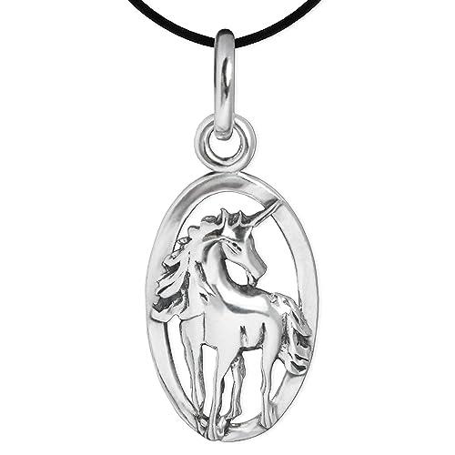 Clever Juego de joyas plateado colgante Unicornio en anillo ovalado de plata de ley 925 con