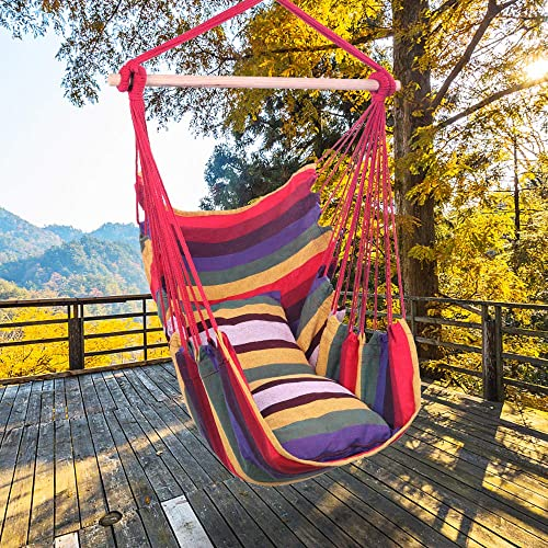 Goujxcy Hanging Rope Chair,Distinctive Cotton Canvas Hanging Rope Chair