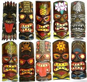 SET OF 10 HAND CARVED POLYNESIAN HAWAIIAN TIKI STYLE MASKS 12 IN TALL
