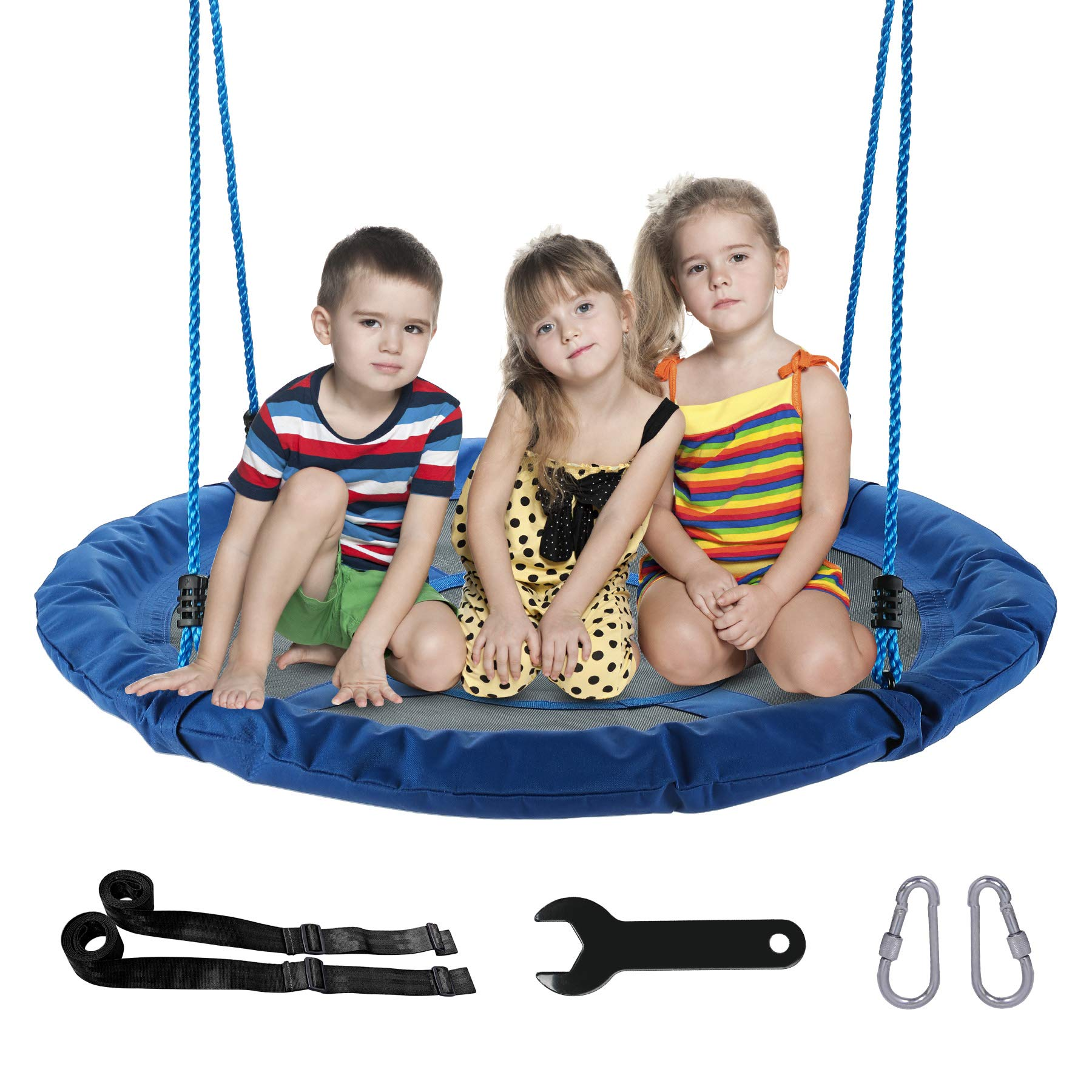 CO-Z Saucer Tree Swing Large 40 Inches Round Saucer Swing Set for Tree with Steel Frame and 2 Adjustable Hanging Straps (Blue) by CO-Z