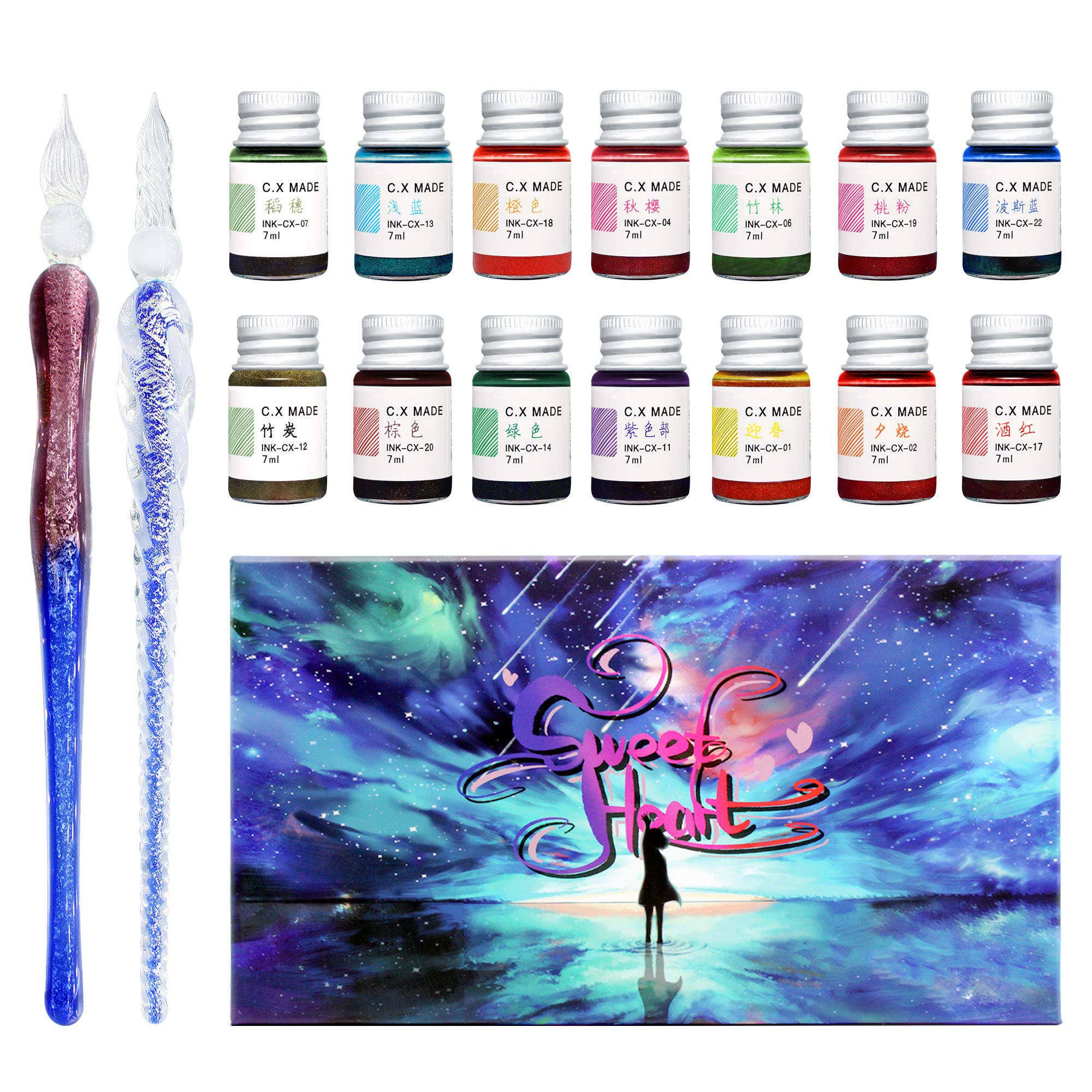 Glass Dipped Pen Ink Set Crystal Glass Pen with 14 Colorful Inks