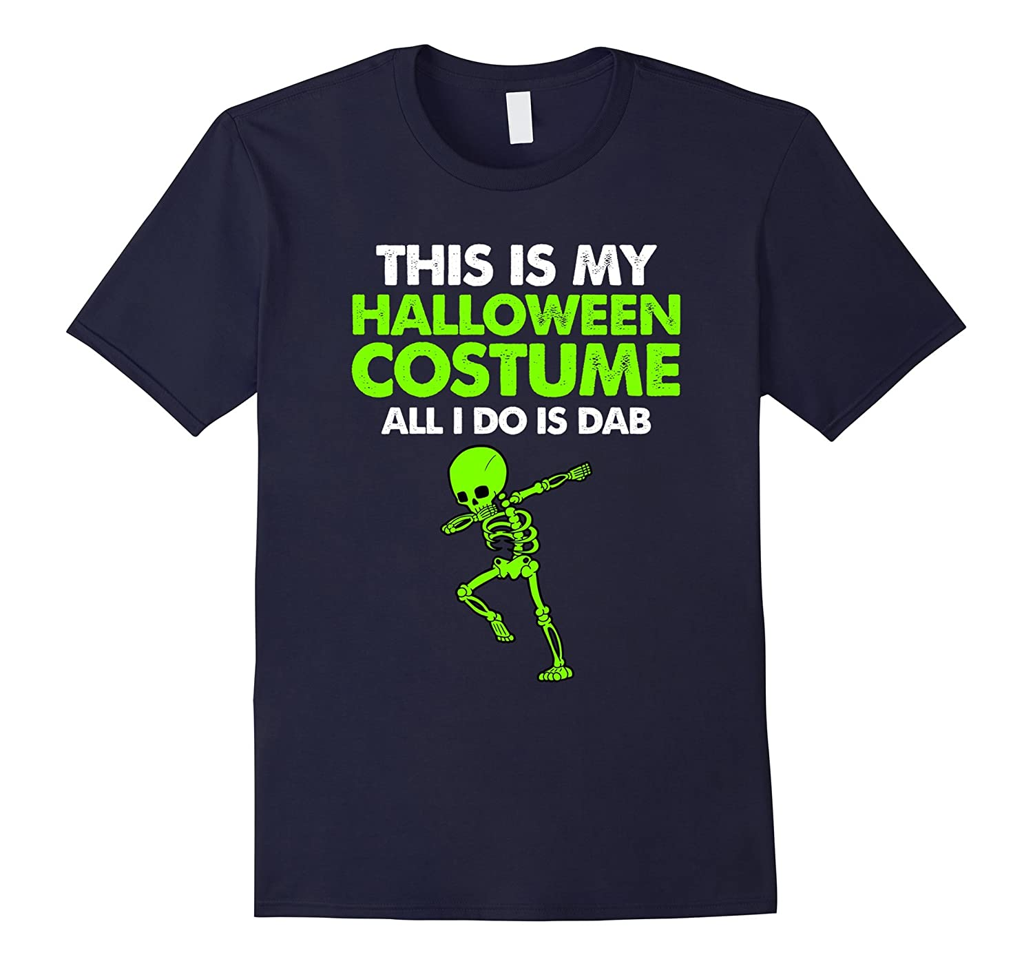 Dabbing Green Skeleton Halloween Costume Dab Skull Shirt-FL