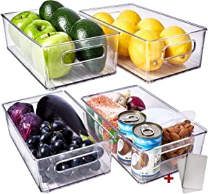 Fridge Organizer Bins 4 Pack - Refrigerator Organizer Bins Freezer Organizer Stackable Refrigerator Storage Bins Fridge Storage Containers Clear Pantry Organization And Storage Bins Clear Pantry Bins