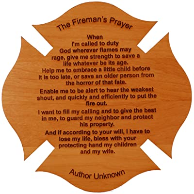 Fireman's Prayer on a Maltese Cross 8 Inch By 8 Inch