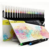 US Art Factory Watercolor Markers – Brush pens with Soft, Flexible Tip | BONUS Watercolor Paper Pad | 20 Vibrant Color Brushes For Painting & Lettering | BONUS E-book and Practice Sheets