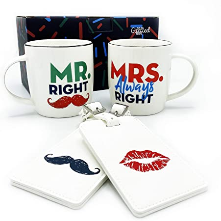 Wedding Gifts Anniversary Engagement Gifts for Couples Bridal Shower Housewarming His Her Coffee /& Tea Couples Gifts 13 oz Cute Mr and Mrs Mugs Set w//Gift Bag /& Gift Box