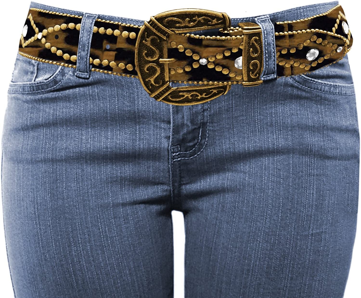 LUNA Western Cowgirl Charm Bling Belt Series - Rhinestone Studded (Various Colors / 2 Sizes)