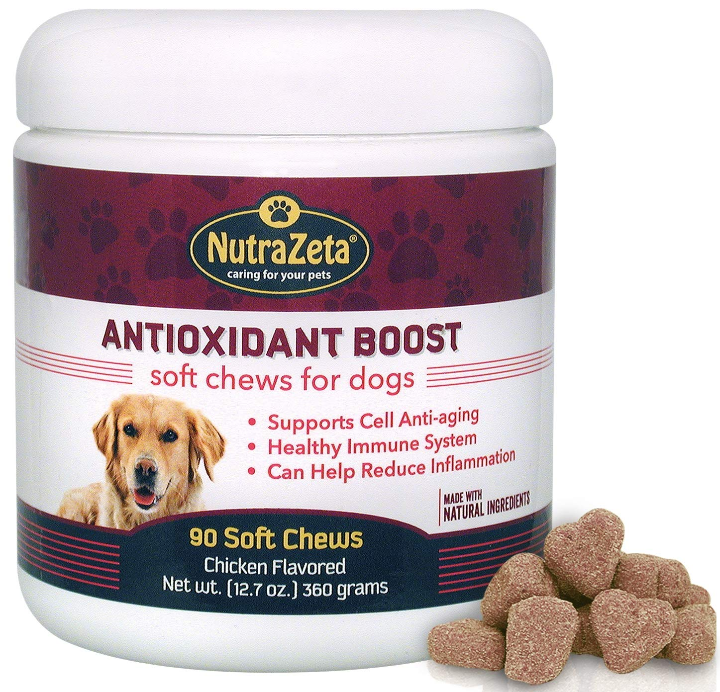 Natural Anti Inflammatory Joint Supplement for Dogs - Premium Antioxidants for Dogs to Help Ease Hip & Joint discomfort + Immune System Boost and Cell DNA Health Protection - 90 Soft Chews - Made USA by NutraZeta