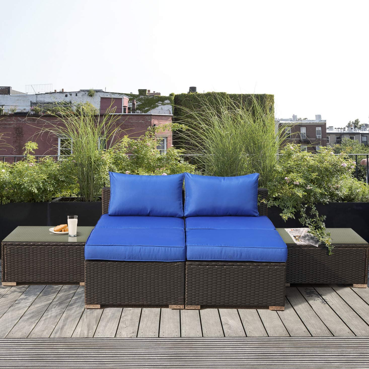 Patio Furniture Garden Rattan Sofa 6-Pieces Outdoor Sectional Couch Wicker-Easy Assembled Black Rattan Royal Blue Cushion