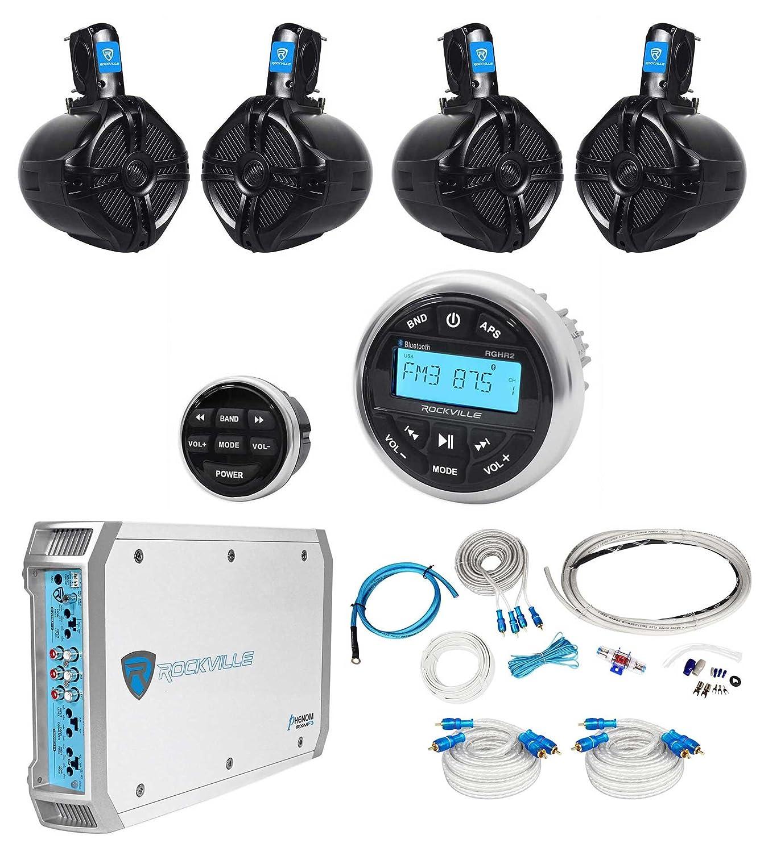 Amazon.com: Rockville RGHR2 Marine Bluetooth Receiver+Remote+(4) 6.5 ...