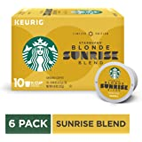 Starbucks Blonde Sunrise Blend Light Roast Single-Cup Coffee for Keurig Brewers, 6 Boxes of 10 (60 total K-Cup pods)