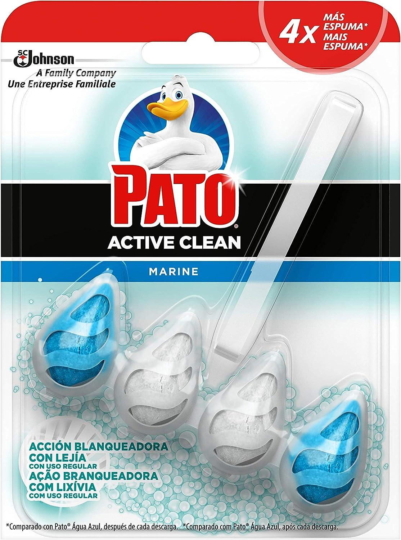 PATO® Active Clean Blanqueante - Colgador WC, Frescor Intenso, Perfuma, Limpia y Desinfecta, Aroma Océano