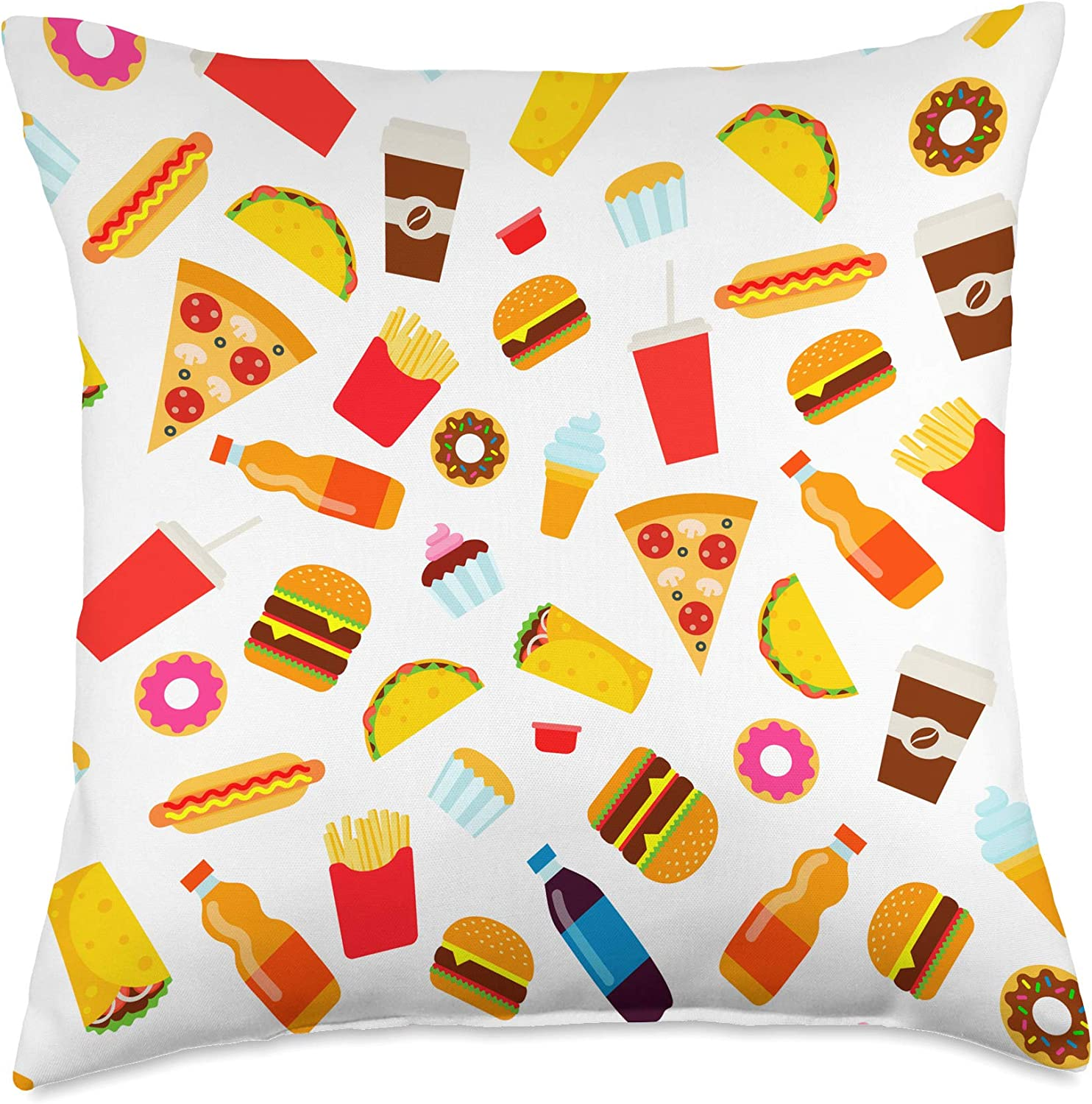 Blisss Foodie Fast Food Hamburger Pizza Hot Dog Tacos Throw Pillow, 18x18, Multicolor