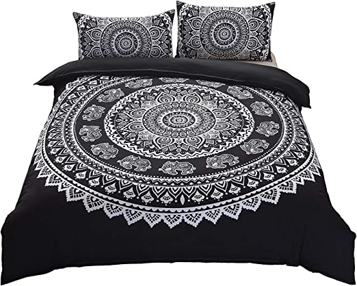 Black and White Elephant Mandala Bedding Bohemian Bed Sheet Two Pillow Covers