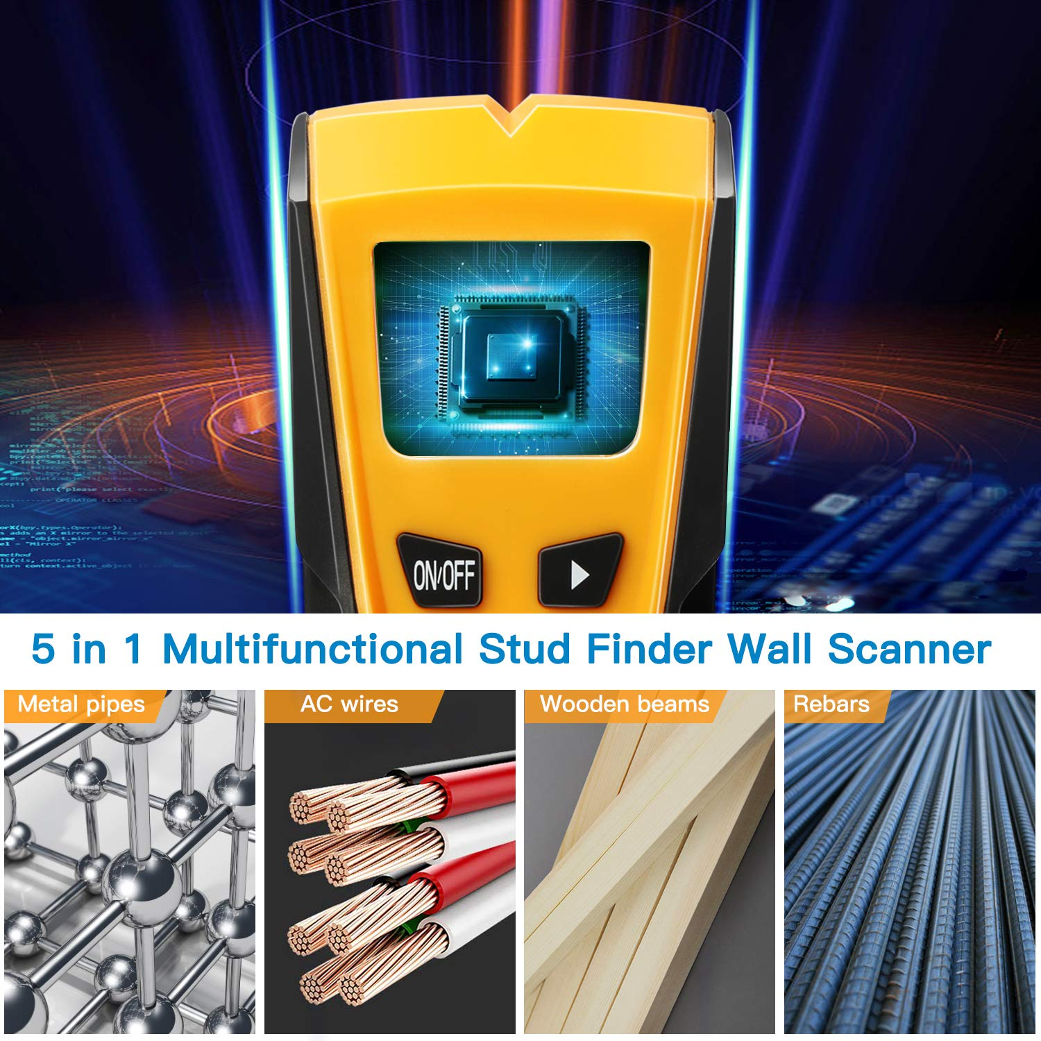 Upgraded 5 in 1 Stud Finder Wall Detector with Battery LCD Display for Wood Metal Studs AC Wire Detection Electronic Stud Sensor Wall Scanner Center Finding