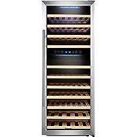 Kalamera KRC-73BSS Design Weinkühlschrank für bis zu 73 Flaschen (bis zu 310 mm Höhe),weinkühler mit Kompressor,zwei Temperaturzonen 5-10°C/10-18°C,(200 Liter, LED Bedienoberfläche, Edelstahl Glastür)