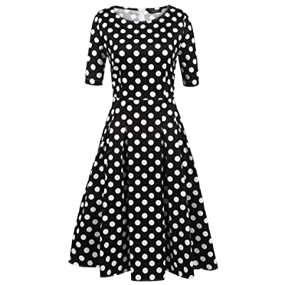 ACEVOG Women's Vintage 1950s Retro Rockabilly Prom Pleated A-Line Cocktail Party Swing Dress