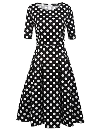 a20ca02a2b ACEVOG Women s Vintage 1950s Retro Rockabilly Prom Pleated A-Line Cocktail  Party Swing Dress Black