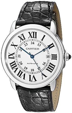 Cartier Homme 42mm Bracelet Cuir Noir Boitier Acier Inoxydable Automatique  Cadran Argent Montre W6701010