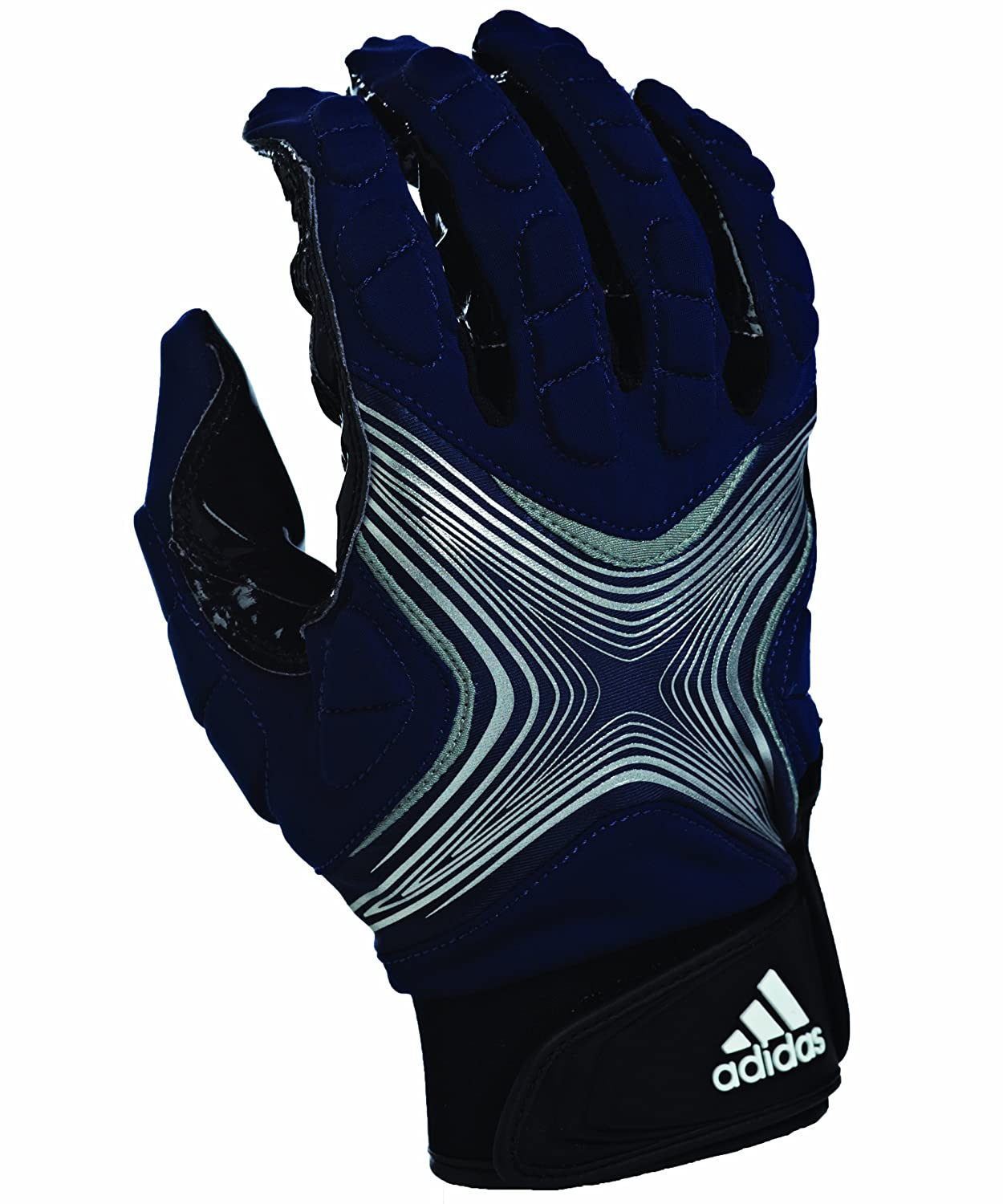 (X-Large, Navy Silver) - adidas Powerweb 2.0 Football Receiver Gloves