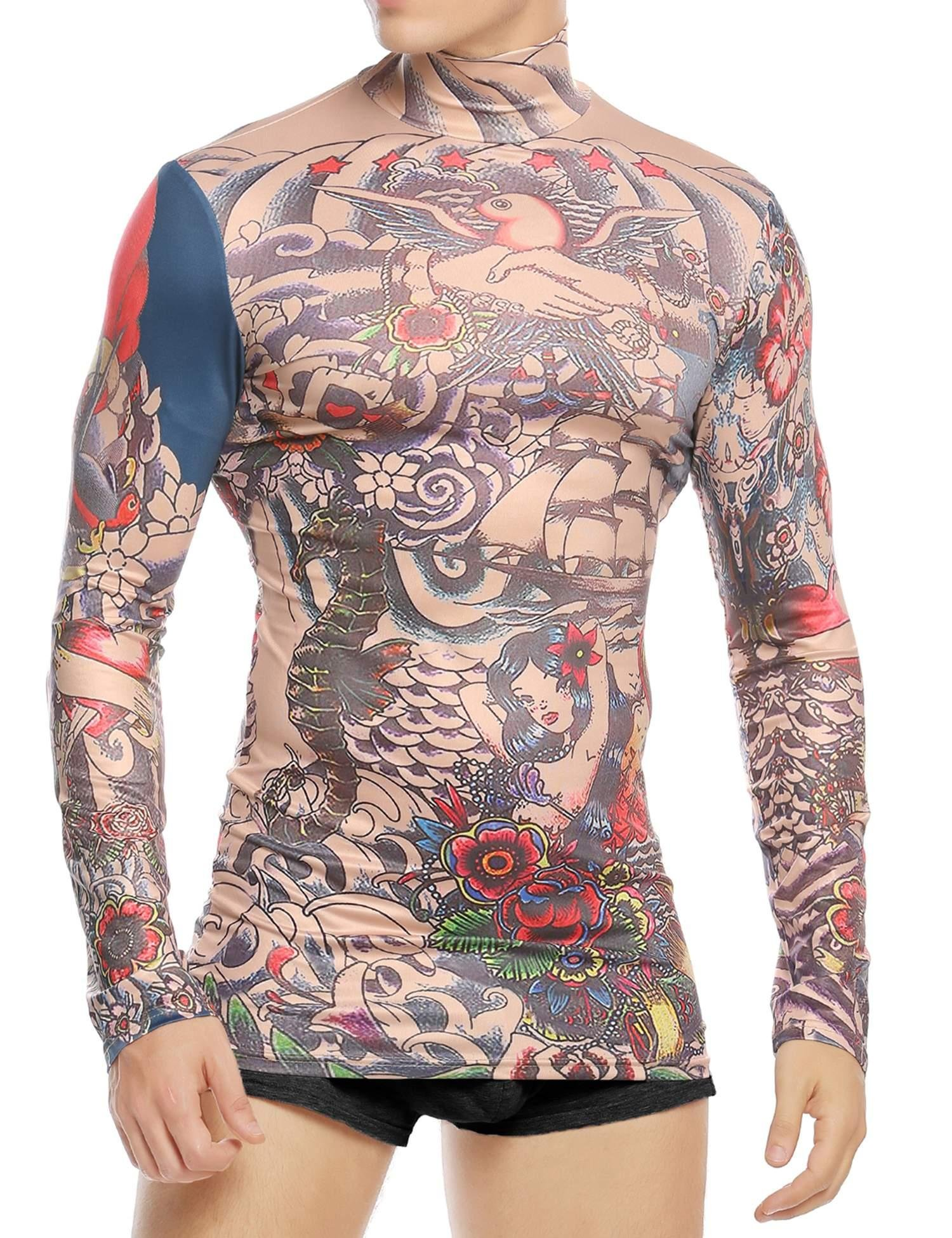 Coofandy Men's Tattoo Multi-coloured Tribal Inspired Print Long Sleeve Halloween Wearing Shirt Red XX-Large