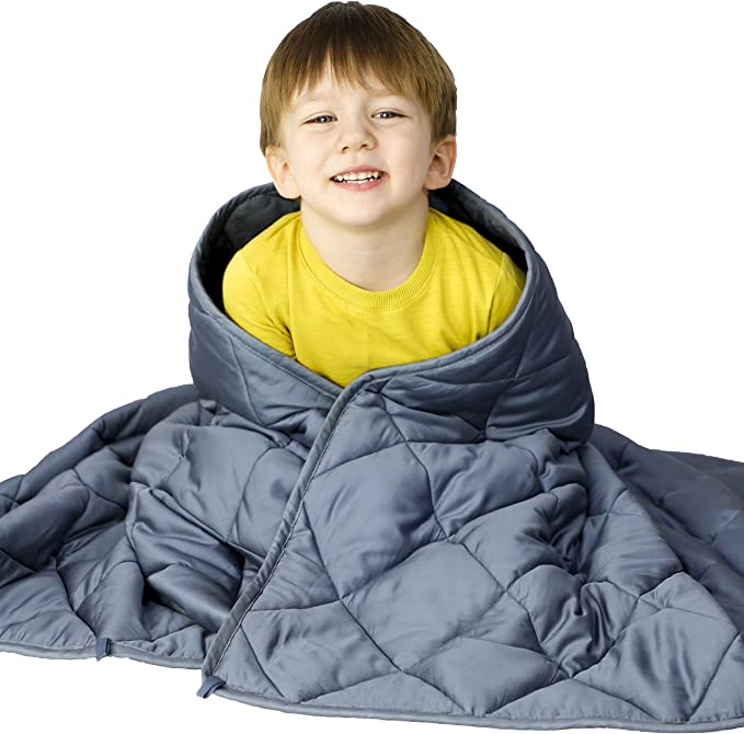Joyching Kid Weighted Blanket 6lbs Yellow Robot, 41x60 6lbs Cooling Weighted Blanket for Toddler 1200 Soft Cotton with Nontoxic Glass Beads