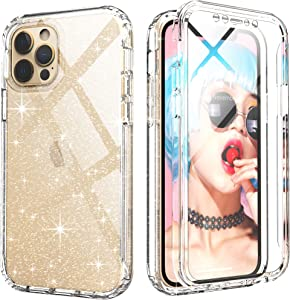 iPhone 12 Case Glitter Clear,IDweel Full-Body iPhone 12 Pro Case with Build in Screen Protector,Hybrid Slim Fit Durable Shock Resistant Rugged Cover for iPhone 12/iPhone 12 Pro 6.1 Inch, Glitter Clear