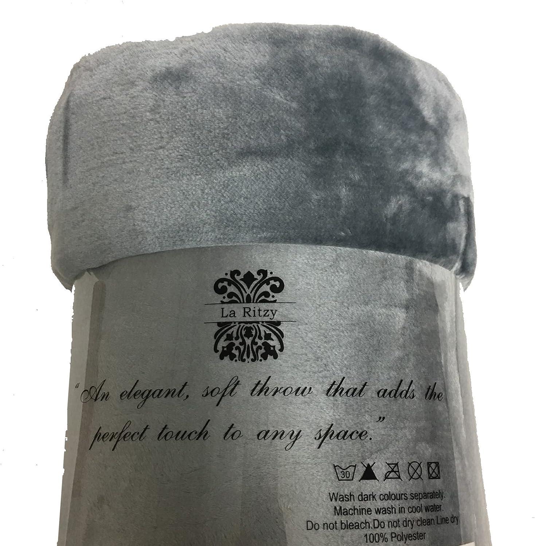 Nouveau gris argenté Couleur Extra Large Fourrure Jeter-King Taille 200 cm x 240 cm