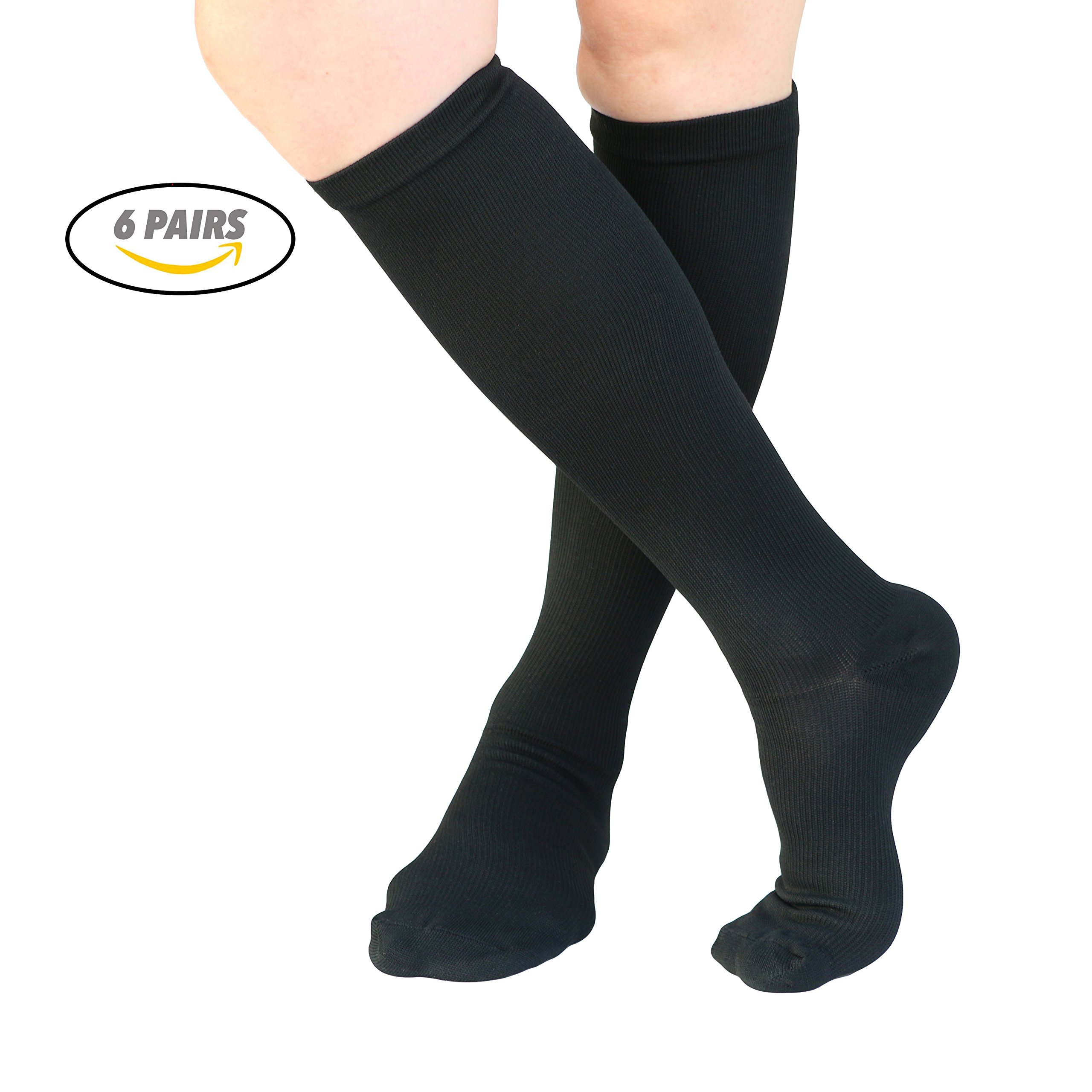 VAGUE SWEET 6 Packs Men,Women Black Knee High Graduate Moisture Wicking Compression Socks,Best Medical, Nursing, Travel & Flight,Circulation & Recovery,Running & Fitness,15-20 mmHg(S/M,Black)