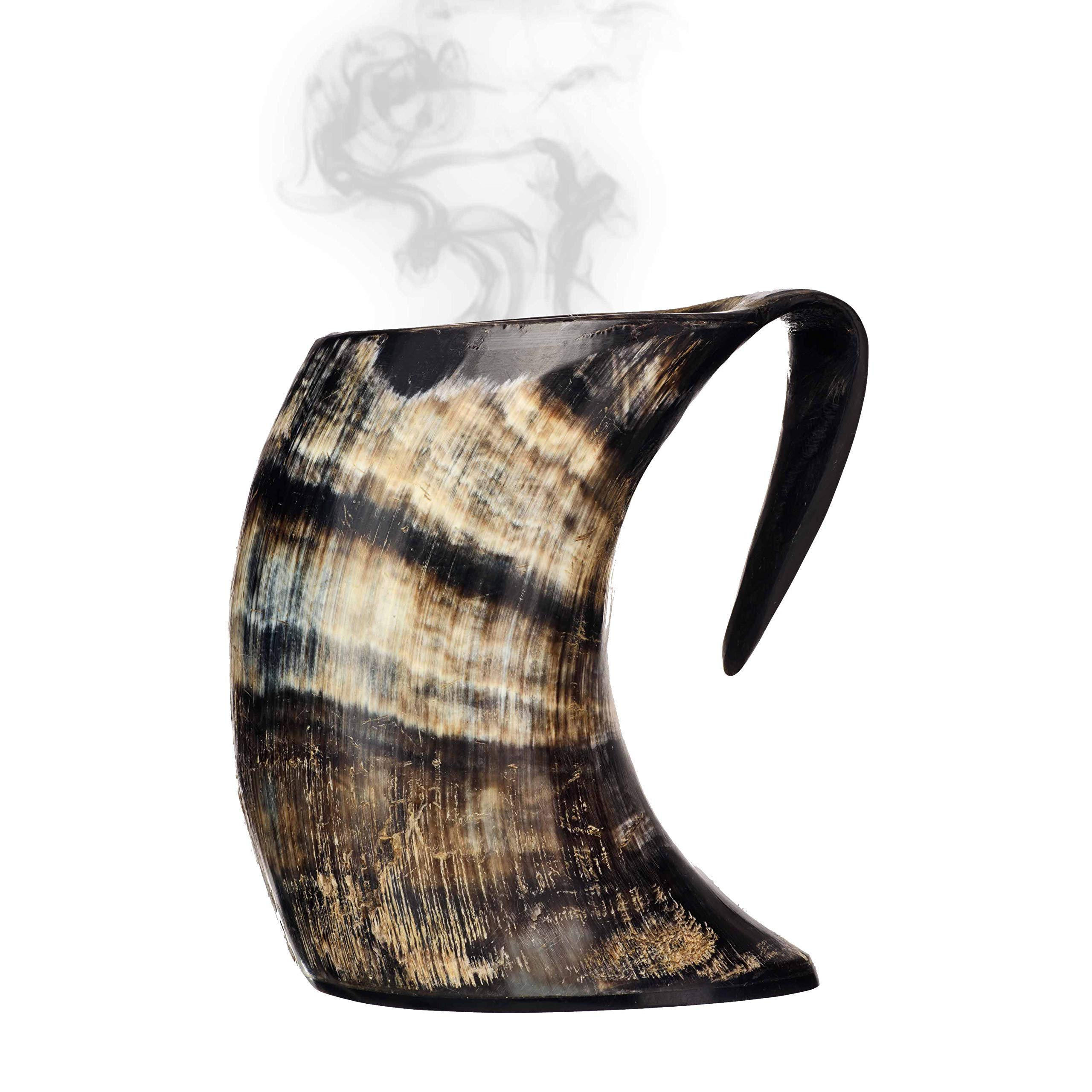 AleHorn Hot Horn Mug Tankard - Safely Holds Hot and Cold Liquids, Coffee, Tea, Hot Chocolate, Wine, Beer, Mead (Tall)