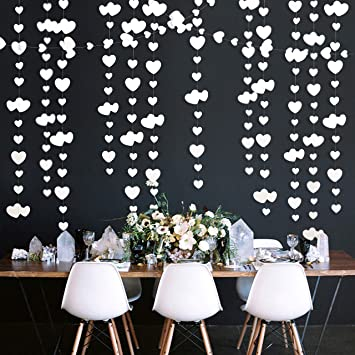 9 Ft White Heart Party Decorations Kit Double sided Paper Hanging