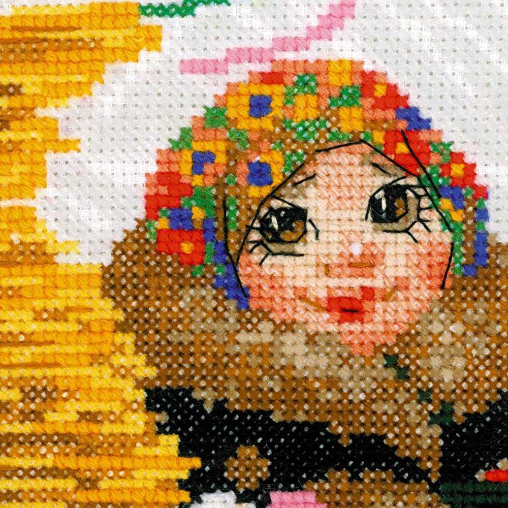Baumwolle Riolis Kreuzstich-Set Pfannkuchenverk/äuferin Mehrfarbig 25 x 25 x 0.1 cm