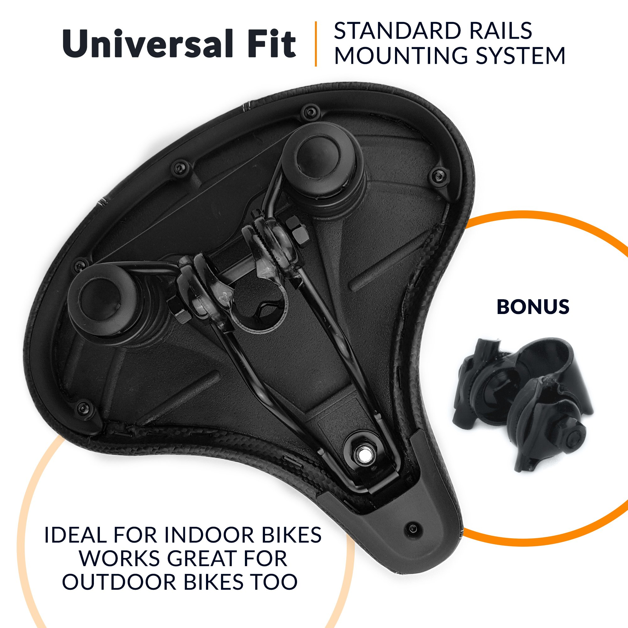 Bikeroo Oversized Comfort Bike Seat Most Comfortable Replacement Bicycle Saddle - Universal Fit for Exercise Bike and Outdoor Bikes - Wide Soft Padded Bike Saddle for Women and Men by Bikeroo (Image #4)