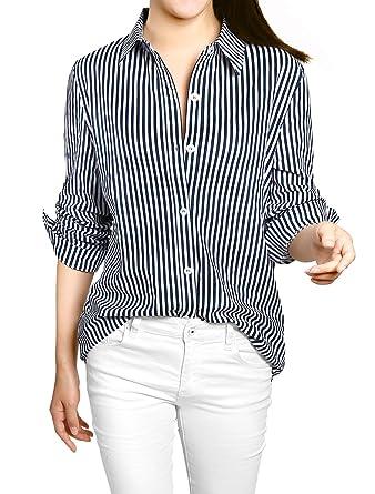 2ad4123d Allegra K Women's Vertical Stripes Button Down Long Roll up Sleeves Shirt  Dark Blue XS (