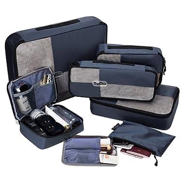 TripDock Packing Cubes 6 Set- Lightweight Travel Luggage Organizers, Navyblue